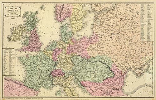 1864 School Atlas | A part of Europe. Designed to accompany Cornell's High school geography. | Antique Vintage Map Reprint - Cornell 1864 Antique Map