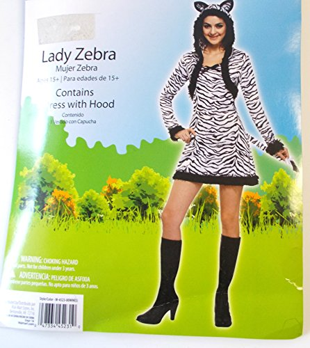 Lady Zebra Adult Costume Dress 4-6 NIP