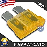 100 Pack 5 AMP ATC/ATO Standard Regular Fuse Blade 5A Car Truck Boat Marine RV