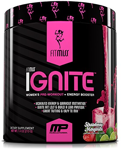 FitMiss Ignite, Women's Pre-Workout Supplement & Energy Booster for Fat Loss, Supports Energy & Workout Motivation, Strawberry Margarita, 30 Servings ()