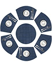 SHACOS Round Table Placemats Woven Vinyl Wedge Shaped Place Mats Round Table Mats Wipe Clean