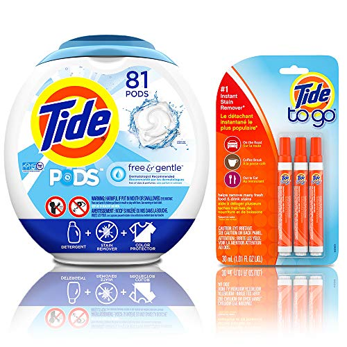 (Tide Free and Gentle Laundry Detergent Pods, 81 Count, Unscented and Hypoallergenic for Sensitive Skin with Instant Stain Remover Liquid Pen, 3 Count)