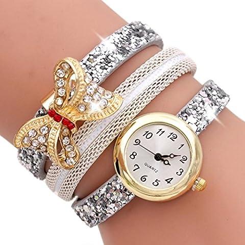 AMA(TM) Women Fashion Butterfly Leather Band Bracelet Wrist Watch Quartz Watch (White) - Rose Quartz Rope