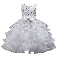Toddler Girls Tutu Dress 2T Special Occasion 4T White Festival Graduation Holiday Knee Length Ivory Little Girls Dress Size 4 6X for Wedding Child Bridesmaid Sleeveless 4-5 Years White 110