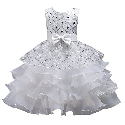 Girls Pageant Dress for Teen Girls Wedding Casual Gowns Age of 6 8 Dress for Little Girls 5-6T Prom Graduation Size 6-7 Girl Dresses Size 8 for Party Lace Tulle Gowns Birthday Beauty White 130