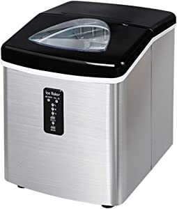 Portable Ice Maker Machine for Countertop - Makes 39lbs of Ice per 24 Hours - Ice Cubes Ready in 8 Minutes,Electric Ice Maker with Scoop and Basket