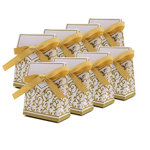 Xin store Wedding Party Favor Candy Boxes with Gold Ribbon, Pack of 100]()