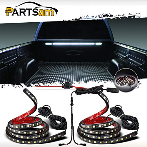 Partsam Truck Bed Light White Led Strip Tailgate Light Bar 2pcs 60 90 5050 Smd Waterproof White Brake Reverse Signal Running Light With Switch Fuse Splitter Cable For Ford Jeep Dodge Ram Rv Pickup