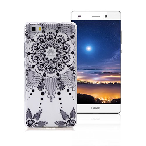 XiaoXiMi Funda Samsung Galaxy S6 EDGE Carcasa TPU Transparente Funda de Silicona Caucho para Samsung Galaxy S6 EDGE Soft Silicone Case Cover Funda Protectora Carcasa Blanda Caso Suave Flexible Caja De Totem de Flor Negra