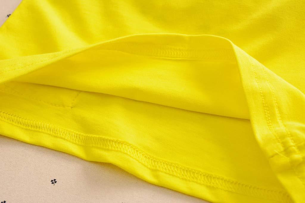 Cute Baby Boys Summer Pajamas Set | Toddler Boys Cartoon Vest Blue Tees Stripe Shorts Sets(Yellow,110) by Wesracia (Image #8)