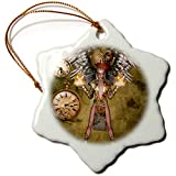 3dRose Heike Köhnen Design Steampunk - Steampunk lady with steampunk wings - 3 inch Snowflake Porcelain Ornament (orn_287294_1)