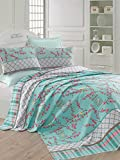 LaModaHome Luxury Soft Colored Full and Double Bedroom Bedding 100% Cotton Super Coverlet (Pique) Thin Coverlet Summer/Bird Cage Animal Tree Plant Flower Nature Blue Background /