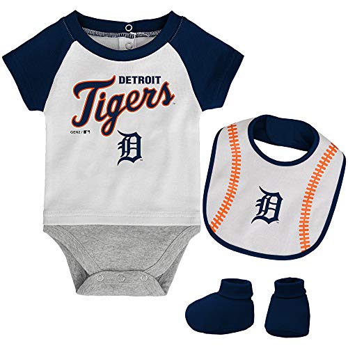 MLB Newborn Baseball Kid Bodysuit, Bib & Booties Set - White (6/9 Months, Detroit Tigers)