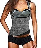 Eleady Womens No Zipper Hot Sweat Slimming Neoprene Shirt Vest Body Shapers (L Fits 33.0-35.4 Waistline, Grey)