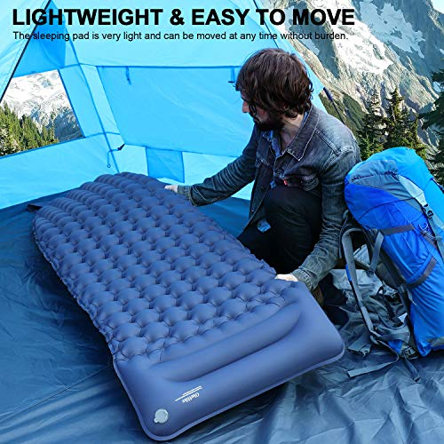 OlarHike Camping Sleeping Pad for Backpacking, Ultralight & Compact Camping Pad with Pillow, Inflatable Sleeping mat for Hiking, Travelling-Blue