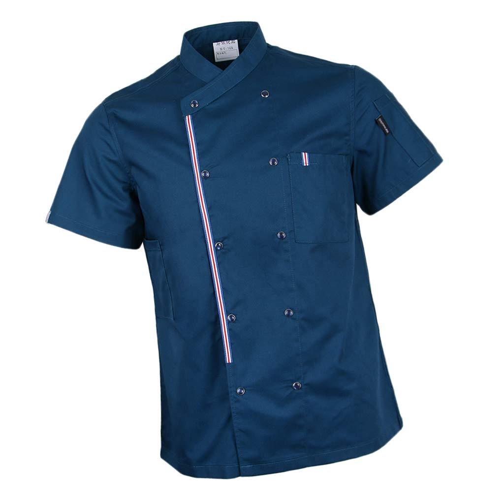 Baoblaze Atmunngsaktiv Küche Bäckerjacke Kochjacke mit Druckknöpfe Unisex Erwachsener Kochbekleidung Arbeitskleidung für Gastronomie