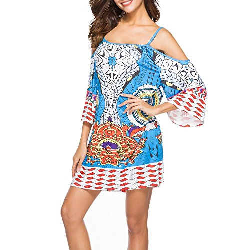 HAALIFE◕‿Women's Tribal Print Kimono Sleeve Geometric Tunic Boho Dress ()