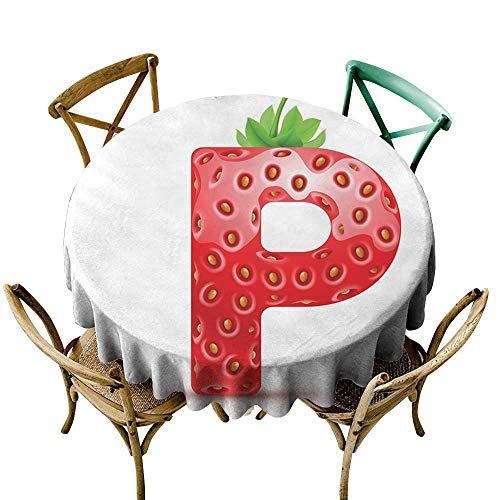 cobeDecor Letter P Washable Table Cloth Healthy Living Themed Alphabet Capital P Sweet Vegetarian Vegan Food D54 Vermilion Green -