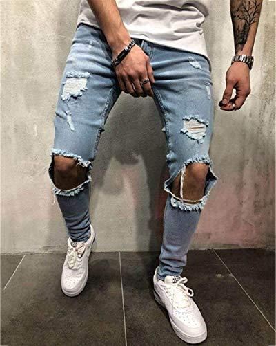 Ropa Strech Look Jeans Pantalones Hellblau Pantalones Pantalones Vintage Casual Holes Fashion Tamaños Destruido Cómodos Hombre Fit Denim Jeans Vaqueros para Slim qHwPI4Hn
