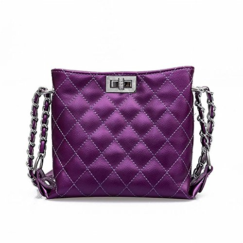 Fairy Small Bag Chain Lingge Wild Hing Trend Shoulder Bag Square Cross Section Woman Lock Bag Chain Double Bag Rhombic Bag Solid Color Version Co
