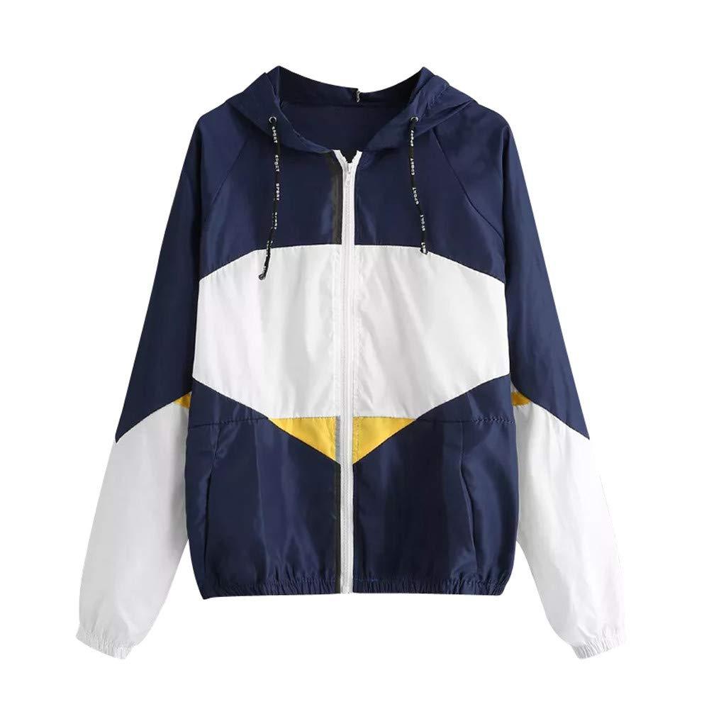 Women Coat, Farjing Long Sleeve Patchwork Thin Skinsuits Hooded Zipper Pockets Sport Coat(S,Black)