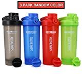 AUTO-FLIP Shaker Bottle 3 Pack for Protein Mixes Cups Powder Blender Smoothie Shakes BPA Free Small Shake With Powerful Mixing Ball - 24 Ounce Random Full Color