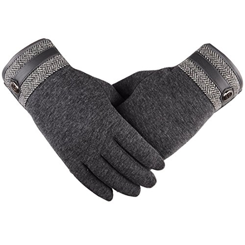 Yingniao Mens Winter Touch Screen Texting Warm Windproof Driving Gloves Gray
