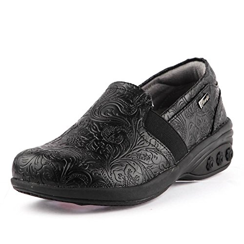 (Annie Women's Slip Resistant Leather Slip On - for Plantar Fasciitis/Foot)