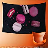 Tapestries Wall Hanging Macaroons on Dark Background Colorful French Cookies Macarons The Broken Macarons Bedroom Living Room Dorm Wall Hanging Tapestry 60W x 40L Inch