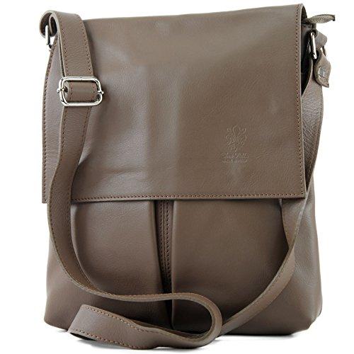modamoda sac dames grande de Dunkeltaupe en ital Messenger T75 sac épaule cuir gqxq4XOwrZ
