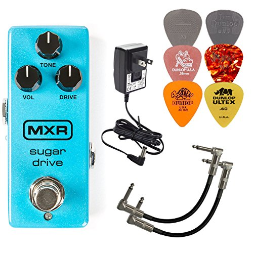 MXR M294 Sugar Drive Mini Guitar Effects Pedal BUNDLE with Dunlop ECB-003 9V Power Supply, 2 Metal-Ended Guitar Patch Cables, and 6 Assorted Dunlop Guitar Picks