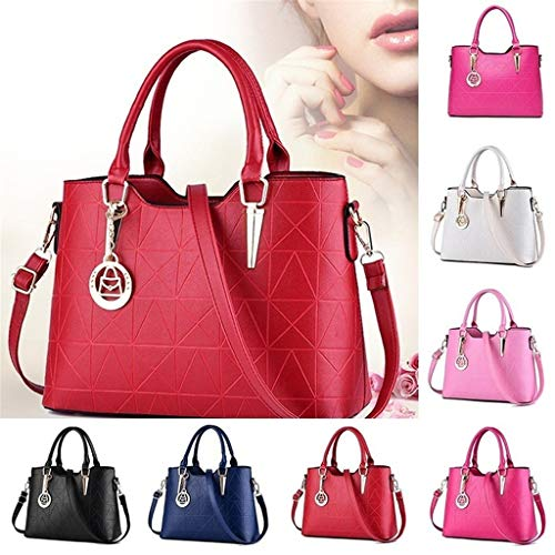 Women Leather Handbag Shoulder Bag Borsa in Pelle Da Donna Messenger Hobo Satchel Tote Crossbody Bag Damen Leder Handtasche Schultertasche Light Blue one Size