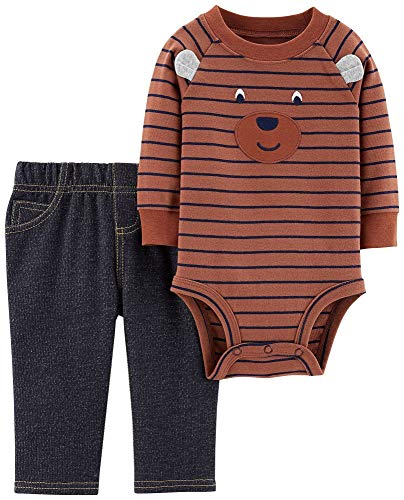 Carters Baby Boys Striped Bear Bodysuit Set 18 Months Brown/Blue/Grey