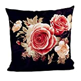 LIEJIE Cotton Decor Throw Pillow Cover Printing Dyeing Peony Pattern for Home Sofa Bedroom Car Decor Hidden Zippered 18x18inch