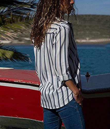 Femmes Up 2 Blanc Blouse Top Manche Blouse Tunique Chemise Col Button Multicolore V Ray Longue en ww6Zr8q