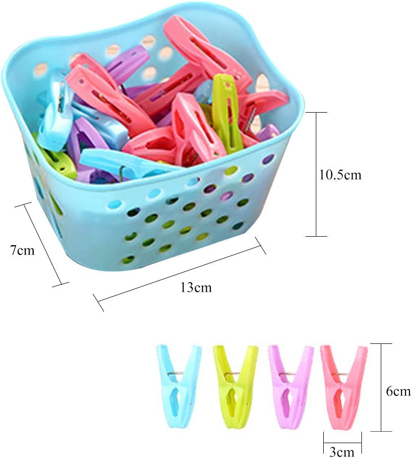 JuneJour 30pcs Clothespins with a Basket Plastic Pegs Multifunction Clothing Clips Windproof Clothes Pins
