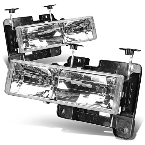 For Chevy/GMC C/K-Series 4th Gen GMT400 2-PC Lamps Chrome Housing Headlight/Bumper Lights Kit