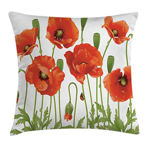 Ambesonne Poppy Decor Throw Pillow Cushion Cover, Spring Wild Flower Poppy Ladybug Leaf Springtime Garden Backyard, Decorative Square Accent Pillow Case, 16 X 16 Inches, Orange Green