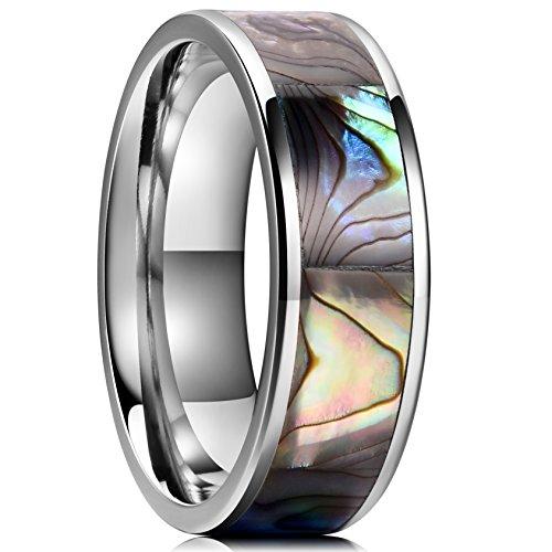 King Will Nature Titanium Ring Engagement Wedding Band Abalone Shell Inlay Polished Finish Flat Pipe Cut 12