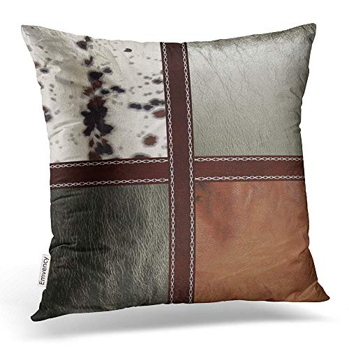 Emvency Square 18x18 Inches Decorative Pillowcases Style Pillows Western Style Leather And Cowhide Print Cotton Polyester Decor Throw Pillow Cover With Hidden Zipper For Bedroom Sofa