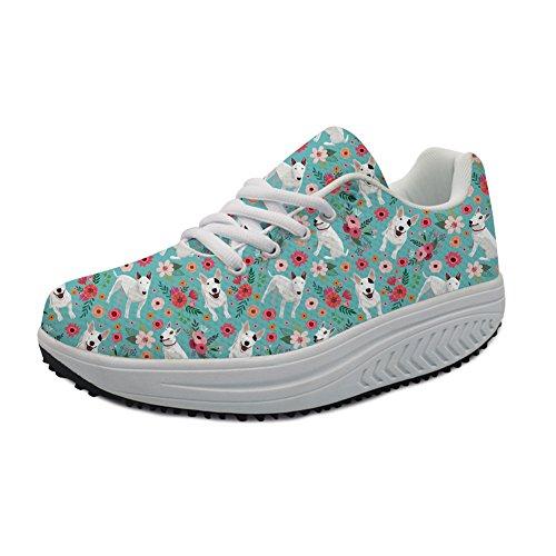Instantarts Bull Terrier Flower Breathable Air Mesh Cross Training Slimming Shoes Sneaker for Women US 7