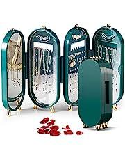 حافظة مجوهرات نسائية صغيرة تصلح للسفر، حافظة لتعليق السلاسل والحلقان والخواتم، صندوق تخزين المجوهرات باربعة ابواب قابلة للطي مع مرآة، رف عرض السلاسل، منظم مجوهرات مع مرآة (اخضر)