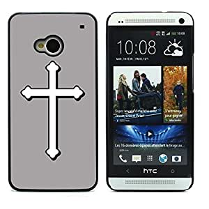 Graphic4You Cross Design Hard Case Cover for HTC One (M7) (Gray)