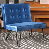 DuSoleil New Velvet Mid Century Modern Armless Hair Pin Leg Chair (Navy Blue) For Sale