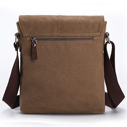 Männer Und Frauen Jahrgang Leinwand Messenger Aktentasche Schulter Tote Schule Geschäftsleben Tasche,Brown-23.5cm*6cm*27cm