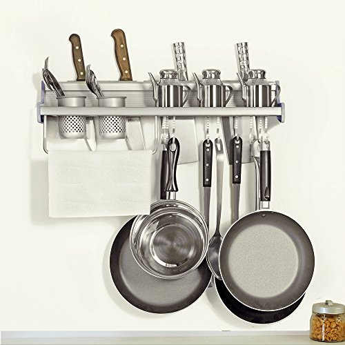 Kitchen Wall Pot Pan Rack, Plumeet 5 In 1 Wall Mounted Hanging Kitchen  Organizer With 10 Pot Hook U0026 4 Knife Holder U0026 2 Utensil Cup U0026 Spice Rack U0026  Towel Rack ...