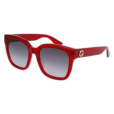 Gucci GG0034S 006, Montures de lunettes Femme, Rouge (Red Grey), 54  Amazon. fr  Vêtements et accessoires f53ac230404d