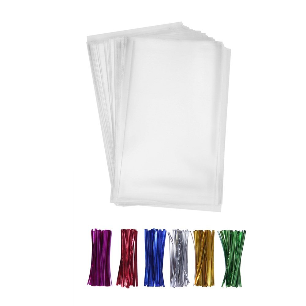 "200 Poly Treat Bags 5x7 with 4"" Twist Ties Assorted Colors - 1.4mils Thickness OPP Plastic Bags of Candy Cookie Treat (5'' x 7'')"