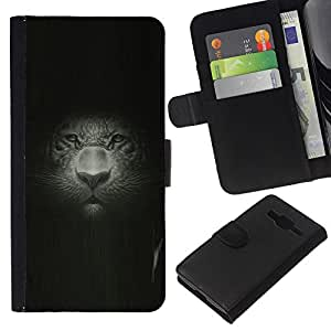 KingStore / Leather Etui en cuir / Samsung Galaxy Core Prime / Gran Retrato del gato Retrato Pintura Dibujo Leopard