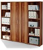 moebel-guenstig24.de Regalwand Office Line Regal Regal-Set Aktenschrank Aktenregal Büro Einrichtung/Walnuss